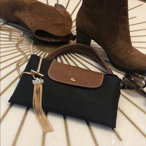 Black Longchamp Bag with Short Camel Handle